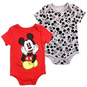 🎁Mickey Mouse Baby Boy 2-Pack Red Bodysuits 0-9M